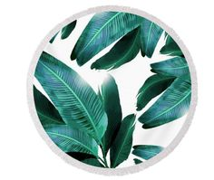 Round beach towel, banana leaf, tropical beach decor, palm leaves, turquoise greens, festival, picnic towel by ChrissyInk on Etsy https://www.etsy.com/au/listing/493659782/round-beach-towel-banana-leaf-tropical