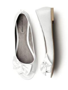 Amazon.com: Satin Peep Toe Bridal Ballet Flats: Clothing