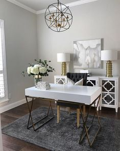 White Home Office Ideas To Make Your Life Easier; home office idea;Home Office Organization Tips; chic home office. Cozy Home Office, Chic Office Decor, Home Office Space, Home Office Design, Home Office Furniture, Cool Furniture, White Desk Home Office, Gold Office, Office Designs