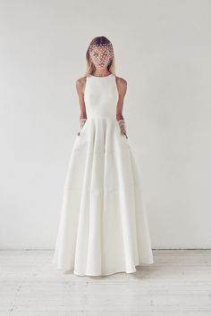 Simple Elegant Satin Floor Length Wedding Dress daa80127fbd8