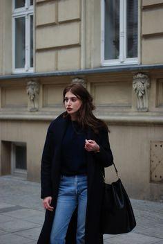 Black coat--street style.