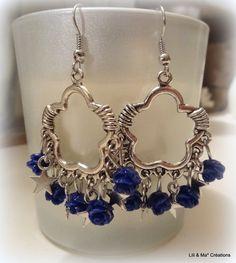Lili et Ma* créations bijoux boucles d'oreille pendentif fleur,roses bleues et étoiles