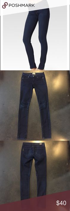 Paige Denim Peg Skinny Paige Denim dark wash skinny jeans. The color is almost black it's so dark. These are low rise and are pretty long. First photo is just to show the fit, not the exact pair! These fit true to size. Paige Jeans Jeans Skinny