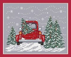 From SUE HILLIS DESIGNS Bringing Home The Tree. A Counted Cross Stitch Pattern for Christmas, Winter with a Red Truck, Snow, Trees. ** PATTERN ONLY ** *** ARE YOU ORDERING other items and want them shipped sooner? – You will need to PLACE A SEPARATE ORDER for those. *** Your
