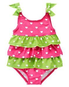 bc1ae576ad Heart Ruffle One-Piece Swimsuit Baby Girl Swimsuit