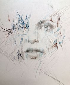 New Ink and Tea Portraits by Carne Griffiths (+ Process Shots)