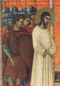 Duccio di Buoninsegna - Maestà - Retro - Cristo interrogato da Pilato, dettaglio - 1308-11 - Tempera e oro su tavola - Museo dell'Opera del Duomo, Siena