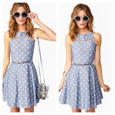 Sale✨❤️✨ nastygal Starry Chambray dress XS Super cute chambray skater dress from Nastygal. Features white stars, cutouts in front & back with back zip closure. Super cute short skater dress...! 100% cotton- dress doesn't include belt- that pic is from the Nastygal website, they added extra style touches. Retails for $48.. Sold out!!!! Nasty Gal Dresses