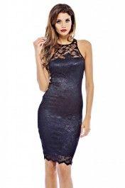 Cut In Neck Lace Midi Dress