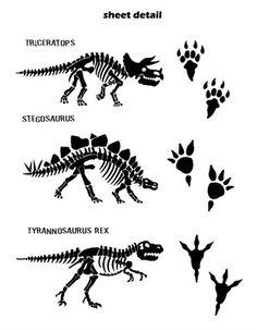 Dinosaur Bones & Tracks Wall Decals Stickers