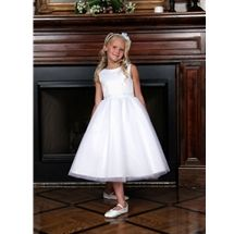 White First Holy Communion Dress with Sequins and Pearls style 596 by Sweetie Pie Collection has a peau satin bodice with rows of clear sequins and pearls. It has a full tulle skirt. www.SweetiePieCollection.com
