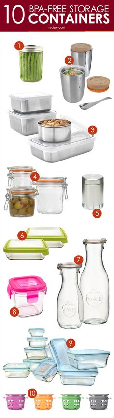 Our Favorite Food Storage Containers: Pretty, Functional and (Really!) BPA-Free I like the looks of Life Factory but Anchor is probably more practical. Kitchen Storage Containers, Glass Food Storage, Food Containers, Kitchen Hacks, Kitchen Gadgets, Kitchen Things, Kitchen Items, Kitchen Tools, Tupperware