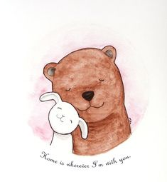Bear & Bunny Watercolor Love Illustration Print by mikaart on Etsy