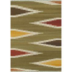 Zahra Hand Woven Green/ Multi Wool Rug (7'6 x 9'6)