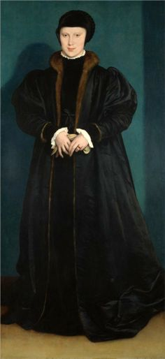 """Christina of Denmark, 1538- Hans Holbein the Younger -  There is a story probably apocryphal that when asked about the king's marriage proposal. That she said someone along the lines """"if I had two necks I would give his majesty one""""  love it"""
