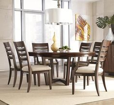 Miramar 7 Piece Round Dining Table with Slat Back Chairs