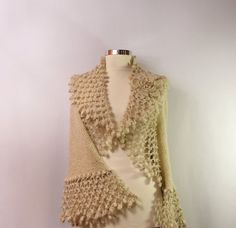 A Change Is Gonna Come / Champagne Crochet Shrug Knit by lilithist, $385.00