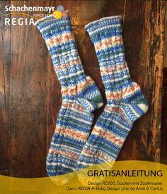 Gratisanleitung: Socken mit Zopfmuster aus Schachenmayr REGIA - Mauerblümchen ade! Bei diesen norwegisch inspirierten Socken ist Auffälligkeit Programm. Dafür sorgt die originelle Farbgebung des Garns Schachenmayr Regia 4-fädig Design Line by Arne & Carlos. Und dafür sorgen nicht zuletzt die markanten Zopfrippen, die dem Sockenpaar ein höchst originelles Aussehen geben. Das macht Laune!