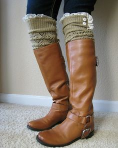 I want to add lace and button to some of my socks to create this look! Love it!