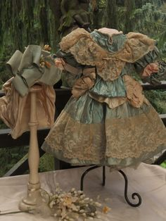 ~~~ Marvelous French Silk Bebe Costume with Bonnet ~~~ from whendreamscometrue on Ruby Lane