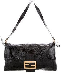 Fendi Maxi Baguette Vintage Bag, Black Patent Leather, Baguette, Designer Handbags, Fendi, Shoulder Strap, Women, Bags, Black Leather