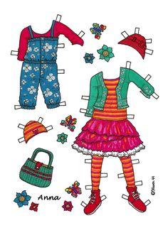 Karen`s Paper Dolls: Anna 1-6 Paper Doll to Print in Colours. Anna 1-6 påklædningsdukke til at printe i farver.