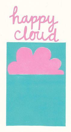 Pink happy cloud lino print