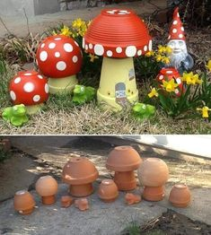DIY Clay Pot Mushroom Toadstool Tutorials: Clay Pot Painting Crafts for Home and Garden Decor, Kids flower pot painting, mushroom DIY Tontopf Pilz Toadstool Tutorials Source by glsmcengiz Best and amazing diy ideas for your garden decoration 28 - GODIYGO. Clay Pot Projects, Clay Pot Crafts, Diy Clay, Diy Projects, Cork Crafts, Shell Crafts, Bottle Crafts, Pots D'argile, Clay Pots