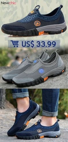 9e378f931505  53% off Men Large Size Breathable Mesh Slip On Loafers Outdoor Casual  Sneakers. Discount Mens ShoesCheap ...