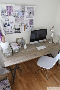 #desk #homeoffice love the open iron legs, but need more storage...