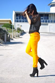Bright yellow jeans - fun.  Suspect would look like stunted midget in this look.