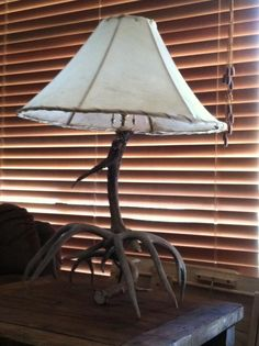 Our own deer horns with raw hide lamp shade