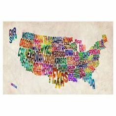 Gallery-wrapped canvas giclee print showcasing a typographic map of America. Made in the USA.   Product: Canvas giclee printConstruction Material: Wood and canvasFeatures:  Gallery-wrappedReproduction based on work by Michael TompsettTypographic map of AmericaMade in the USA