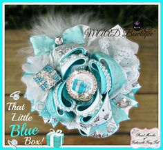 Tiffany, blue box, Tiffany hair bow, Tiffany bow, hair bow, bow, jewelry hair bow, bling, big bows, stacked hair bows, over the top hair bows, ott bows, shop with attitude, MAAD Bowtique