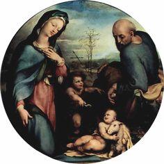 Доменико Беккафуми . Святое семейство с Иоанном Крестителем. 1515-1525 г. Дерево. Мюнхен. Старая Пинакотека.