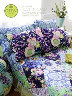 Free Amy Butler Pattern - JUST IN CASE PILLOW CASES & PILLOW SHAMS WITH TIES