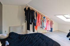 Freunde von Freunden — Maël Schamp — Food Stylist & Chef, Apartment, 't Zuid, Antwerp — angled wall closet hanging solution -- http://www.freundevonfreunden.com/interviews/mael-s...