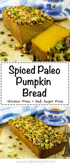 Spiced Paleo Pumpkin Bread – A delicious moist paleo and gluten free bread that is naturally sweetened with pumpkin and has a hint of warming spices, topped off with crunchy pumpkin seeds and walnuts. This moist bread can be a delicious paleo snack to enjoy with a cup of tea, or can be a gluten free or paleo breakfast. It is nice and moist to eat on its own or I love to eat it slathered with some almond butter. We grew our own pumpkins this year, we have tried this once before but...