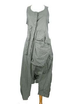 Rundholz Mainline Collection stretch fabric, very low crotch, sleeveless overalls in grey colour, with multiple pockets.