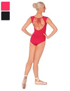 Mirella leotard with cap sleeves with striking open lattice back. red or black