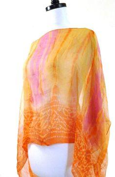 Orange Kaftan Orange Caftan Silk Caftan Pink Silk by MiriTextiles, $30.00