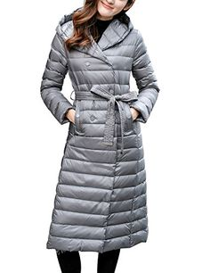 Gihuo Womens Lightweight Doublebreasted Long Down Jacket Hooded Puffer Coat With Belt Large Grey * Be sure to check out this awesome product. (This is an affiliate link)