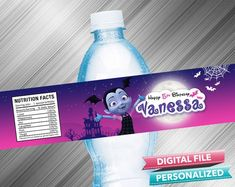 Vampirina Birthday Water Bottle Label - PrintDParty Selling Birthday Invitation and Printable Party Decoration Digital File. Printable Labels, Party Printables, Birthday Party Decorations Diy, Waterproof Labels, Water Bottle Labels, Printable Birthday Invitations, Special Birthday, Sticker Paper, I Shop