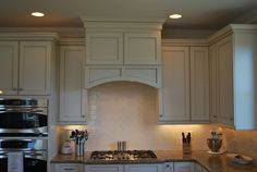 Modern Kitchen Exhaust Hood Covered Wooden Kitchen Stove And White Wooden Cabinet Hidden Lighting Decor Tile Backsplash