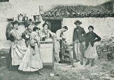 Foto de época haciendo jeringos MÁLAGA antigua