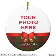 MacNicol Scottish Tartan Christmas Photo Double-Sided Ceramic Round Christmas Ornament