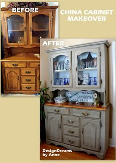 From 1980s to Farmhouse Chic Hutch Makeover                                                                                                                                                                                 Plus