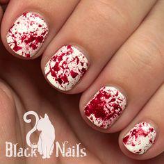Sparkly Blood Splatter Halloween Nails
