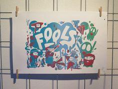 Foucault Ship of fools. Silkscreen printed on paper. 45x35 cm.
