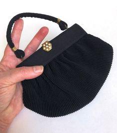Vintage Purse Black Art Deco Evening Bag Pleated Organdy | Etsy